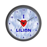 I Love Lilian (Blue) Valentine Wall Clock