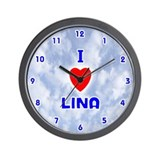I Love Lina (Blue) Valentine Wall Clock