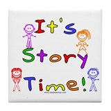Story Time w Stick Kids Tile Coaster