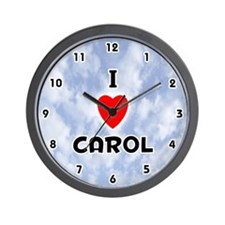 I Love Carol (Black) Valentine Wall Clock