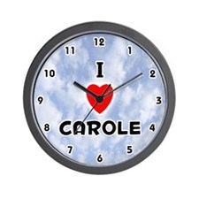 I Love Carole (Black) Valentine Wall Clock