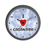 I Love Casandra (Black) Valentine Wall Clock