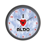 I Love Aldo (Red/Blk) Valentine Wall Clock