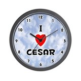 I Love Cesar (Black) Valentine Wall Clock