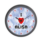 I Love Alisa (Red/Blk) Valentine Wall Clock
