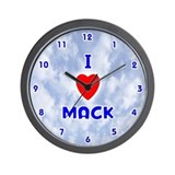 I Love Mack (Blue) Valentine Wall Clock