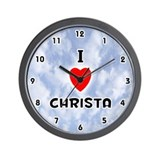 I Love Christa (Black) Valentine Wall Clock