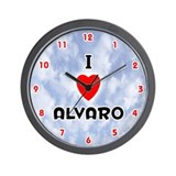 I Love Alvaro (Red/Blk) Valentine Wall Clock