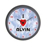 I Love Alvin (Red/Blk) Valentine Wall Clock