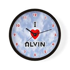 I Love Alvin (Red/Blk) Valentine Wall Clock