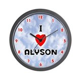 I Love Alyson (Red/Blk) Valentine Wall Clock