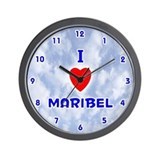 I Love Maribel (Blue) Valentine Wall Clock