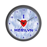 I Love Marilyn (Blue) Valentine Wall Clock