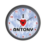 I Love Antony (Red/Blk) Valentine Wall Clock