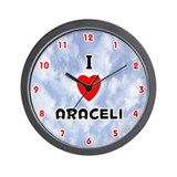 I Love Araceli (Red/Blk) Valentine Wall Clock