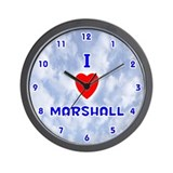 I Love Marshall (Blue) Valentine Wall Clock