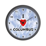 I Love Columbus (Black) Valentine Wall Clock