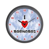 I Love Barnabas (Red/Blk) Valentine Wall Clock