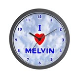 I Love Melvin (Blue) Valentine Wall Clock