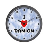 I Love Damion (Black) Valentine Wall Clock