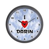 I Love Darin (Black) Valentine Wall Clock