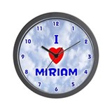 I Love Miriam (Blue) Valentine Wall Clock