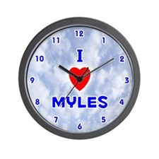 I Love Myles (Blue) Valentine Wall Clock