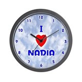 I Love Nadia (Blue) Valentine Wall Clock