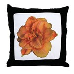 Coral Double Daylily Throw Pillow
