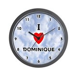 I Love Dominique (Black) Valentine Wall Clock
