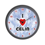 I Love Celia (Red/Blk) Valentine Wall Clock