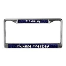 Funky Love Chinese Crested License Plate Frame