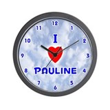 I Love Pauline (Blue) Valentine Wall Clock
