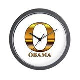 Gold O for Barack Obama Wall Clock