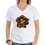Dark Purple Daylily Women's V-Neck T-Shirt