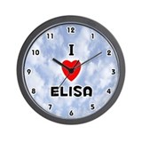 I Love Elisa (Black) Valentine Wall Clock