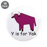 "Y is for Yak 3.5"" Button (10 pack)"