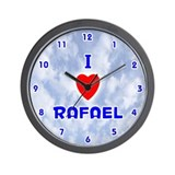 I Love Rafael (Blue) Valentine Wall Clock