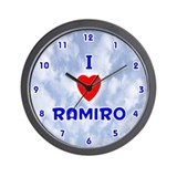 I Love Ramiro (Blue) Valentine Wall Clock