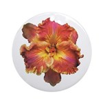 Coral Red Daylily Ornament (Round)