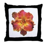 Coral Red Daylily Throw Pillow