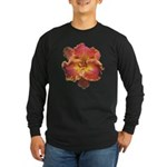 Coral Red Daylily Long Sleeve Dark T-Shirt