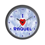 I Love Raquel (Blue) Valentine Wall Clock