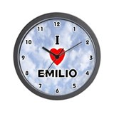 I Love Emilio (Black) Valentine Wall Clock