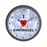I Love Emmanuel (Black) Valentine Wall Clock