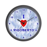I Love Rigoberto (Blue) Valentine Wall Clock