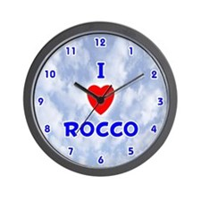 I Love Rocco (Blue) Valentine Wall Clock