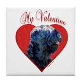 Black Russian Valentine Tile Coaster