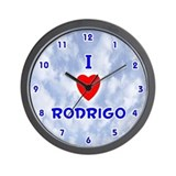 I Love Rodrigo (Blue) Valentine Wall Clock