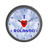 I Love Rolando (Blue) Valentine Wall Clock